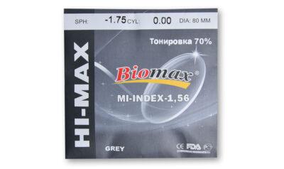 Линза полимерная тонированная 70% BIOMAX HI-MAX (цвет серый/коричневый)