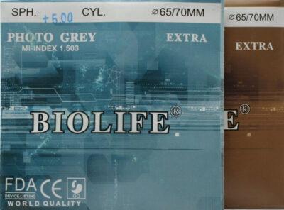 Минеральная фотохромная линза, цвет коричневый/серый. Индекс 1,523